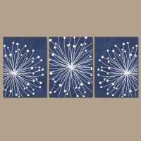 DANDELION Wall Art CANVAS or Prints Navy Blue Bedroom