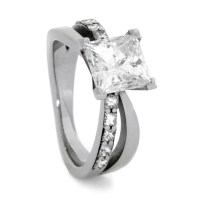 Diamond Bow Engagement Ring in 14k White Gold by ...