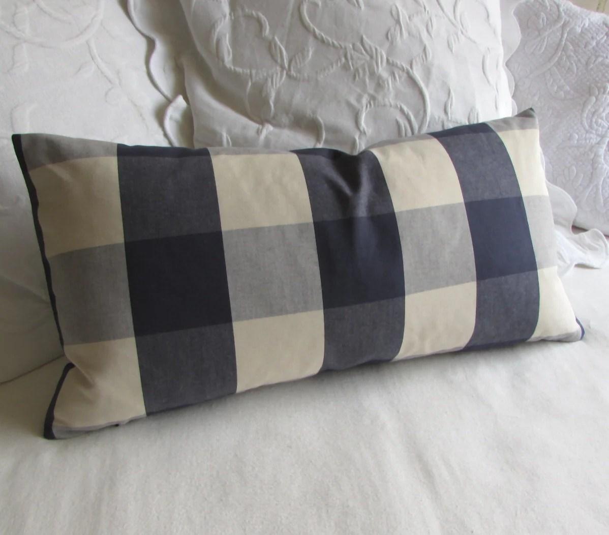 buffalo check sofa cover slumberland com sofas navy cream decorative designer pillow by yiayias