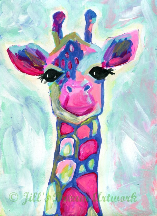Giraffe Print Painting Colorful Art Abstract