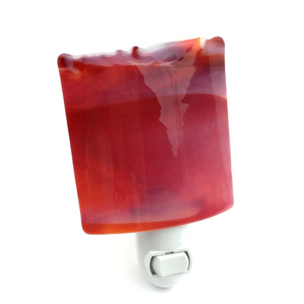 Night Light Decorative Red Stained Glass Wall Plug