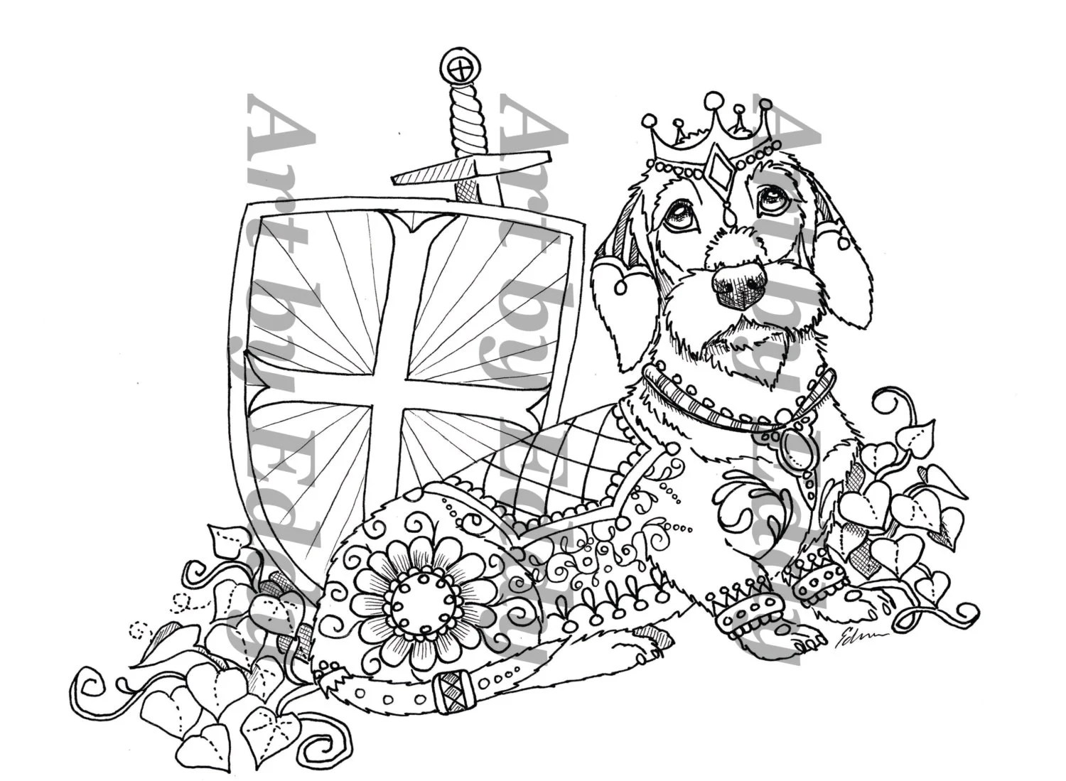 Art of Dachshund Coloring Book Volume No. 2 Physical by