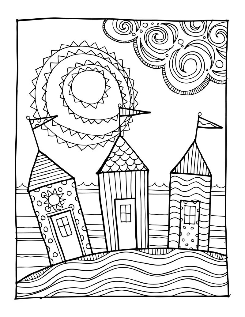 KPM Doodles Coloring page Beach houses from kpmdoodles on