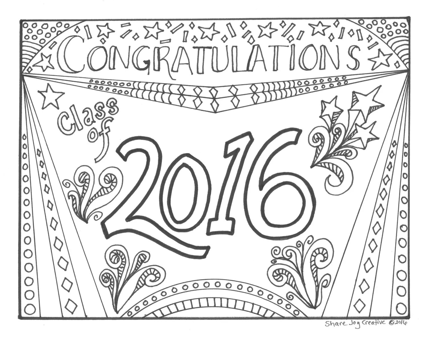 Happy Birthday Cake Coloring Page by ShareJoyCreative on Etsy
