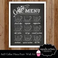 Coffee Chalkboard Art Coffee Bar Menu by CupcakeCutieesParty