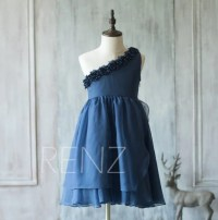 Navy blue Junior Bridesmaid Dress Flower Girl Dress Flower