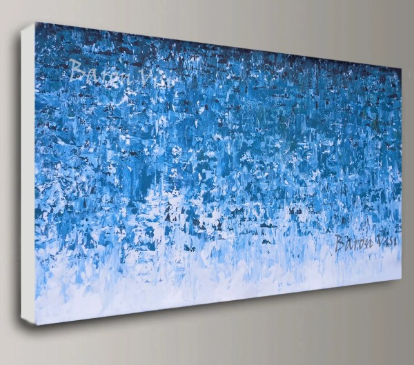 Teal Blue Abstract Painting Acrylic Art