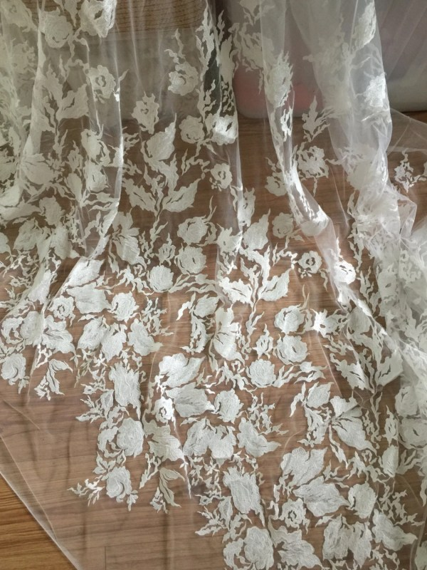 French Bridal Lace Fabric Floral Embroidered