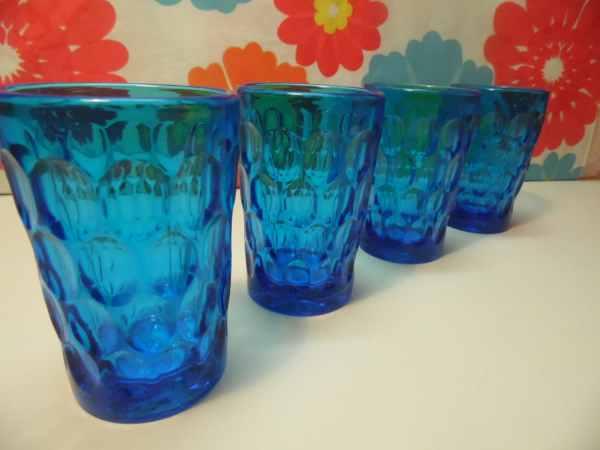 Fenton Colonial Blue Thumbprint Juice Glasses 4 Ounce