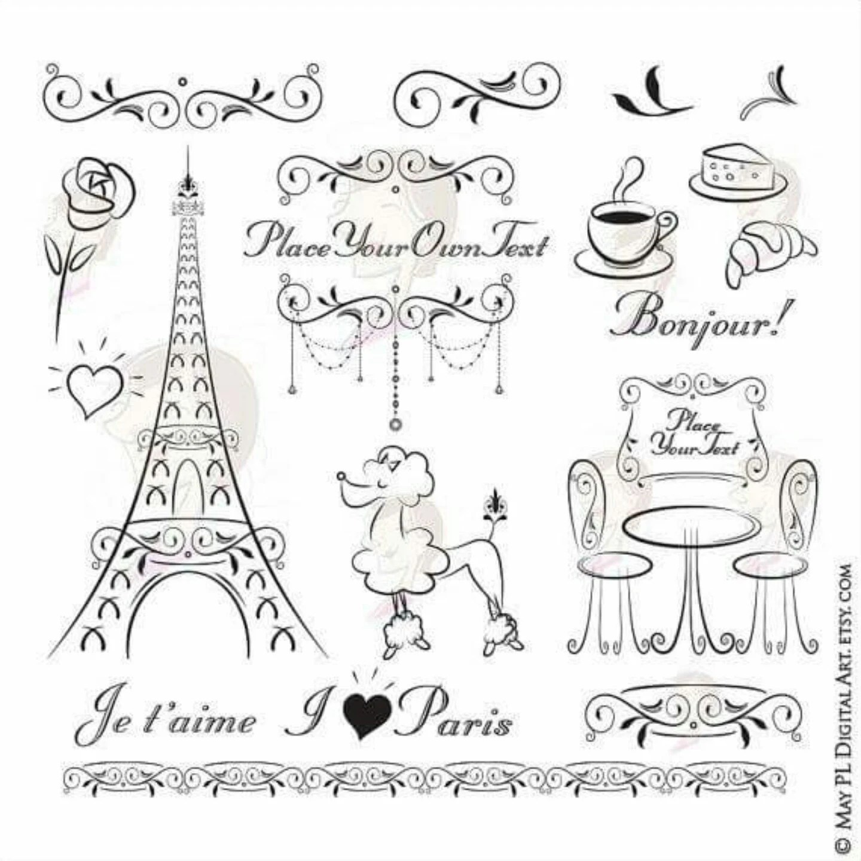 Paris Eiffel Tower Bonjour Clip Art French Flourish Ornate
