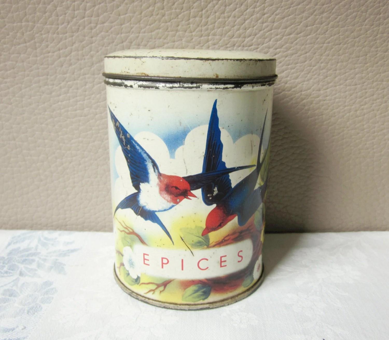 Vintage Tin Box 1930 Retro Kitchen Birds Antique Home
