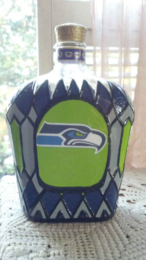 Seattle Seahawks Football Crown Royal Whiskey Hand Painted