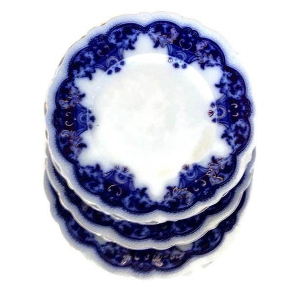 Antique Dinner Plates Flow Blue-blue Danube-johnson
