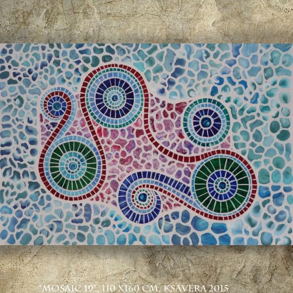 Mosaic Abstract Canvas Art 44x64 Modern Acrylic