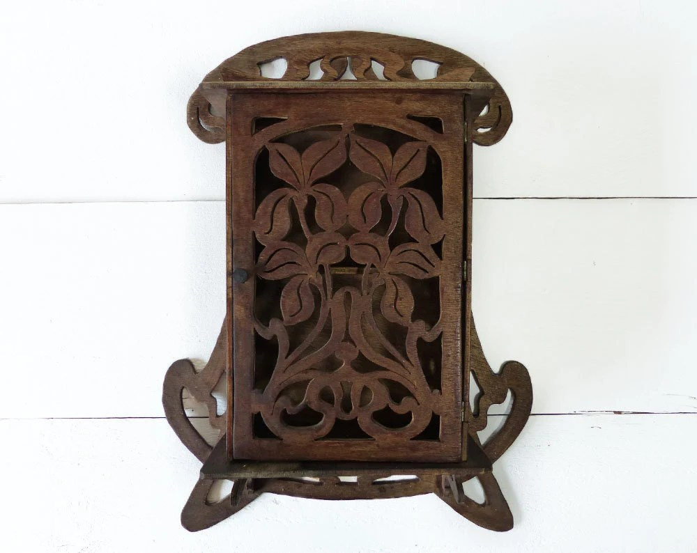 Antique Wood Wall Decor : Small antique hand carved wood french art deco wall