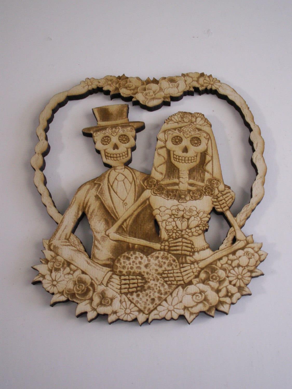 Bride and Groom Sugar Skulls Laser CutoutsUnfinished