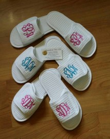 Set Of 6 Monogrammed Spa Slippers Waffle