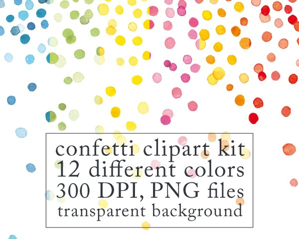 watercolor confetti clipart digital