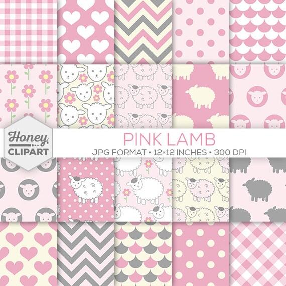 Baby Girl Nursery Pink Wallpaper Pink Lamb Digital Paper Lamb Printable Art Baby Girl