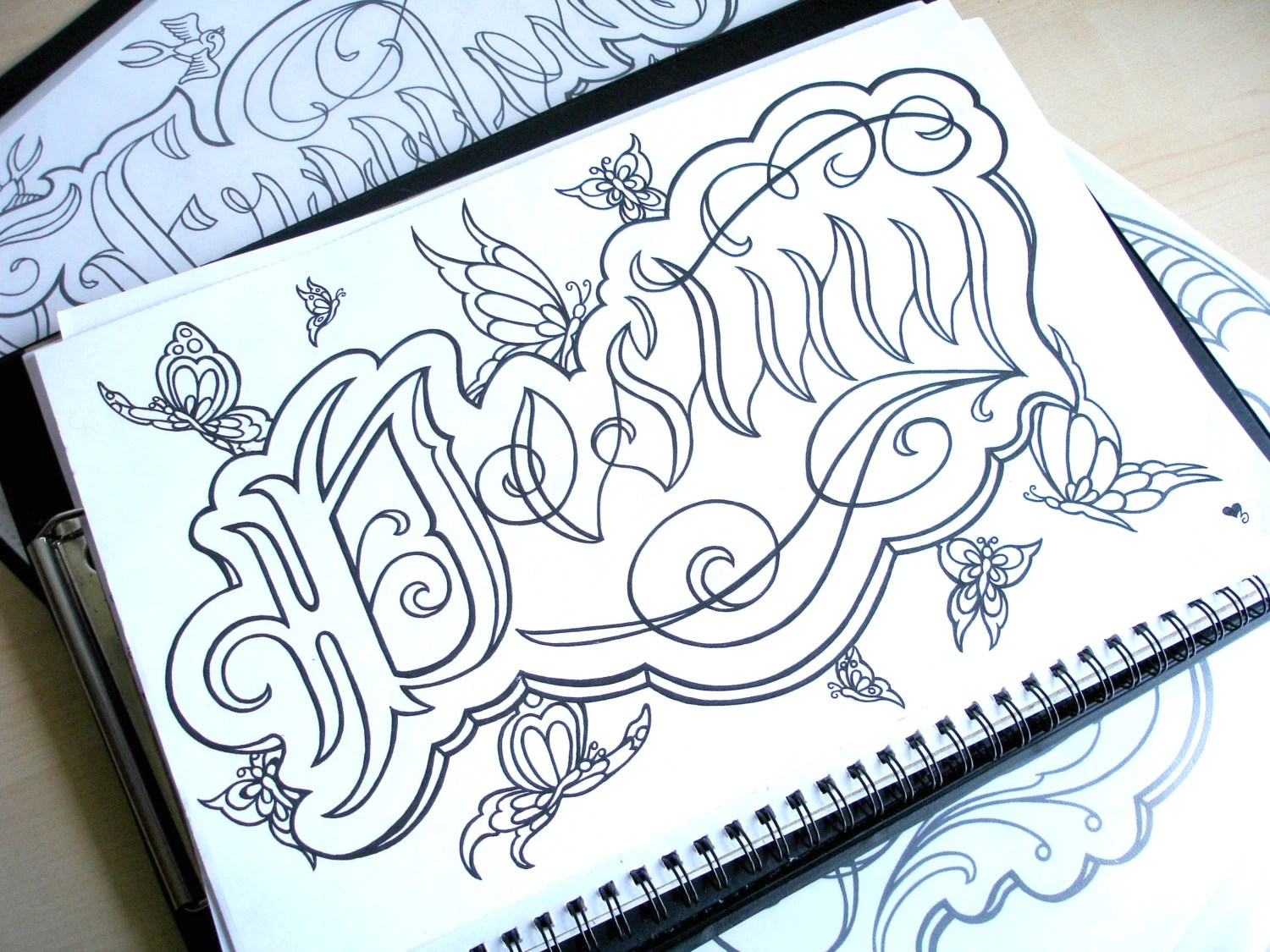 Destiny Tattoo Script Tattoo Coloring Page Adult Colouring