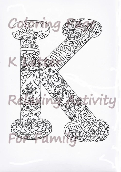 Coloring Letter K Download Adult Coloring by