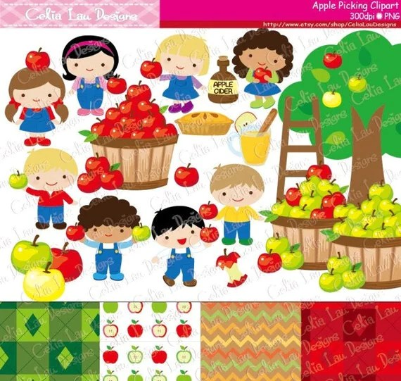 apple picking clipart fall