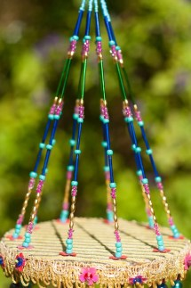 Glass Sun Catchers Beaded Mobile With Brass Bells Bohemian