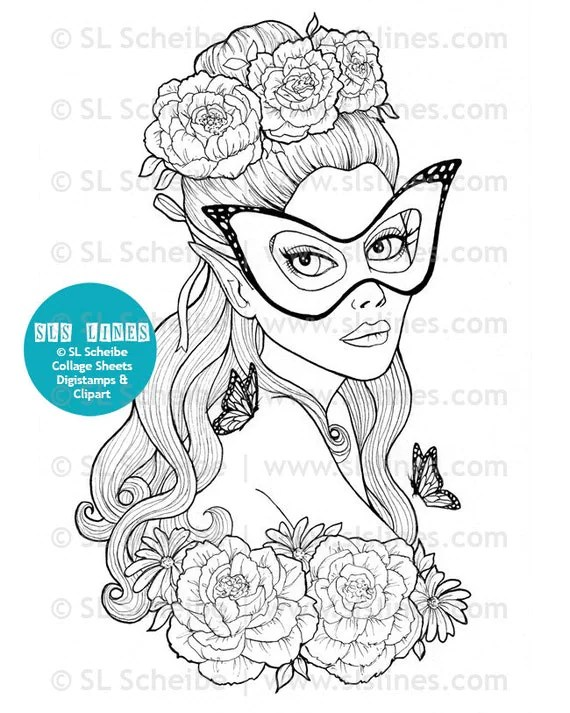 Adult Coloring book PDF Pretty ladies beautiful women by