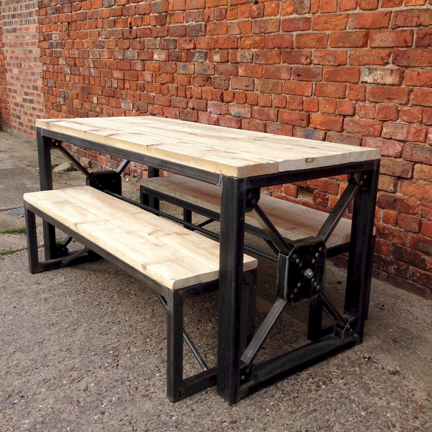 industrial dining table and chairs faux cowhide accent chair steampunk reclaimed wood benches