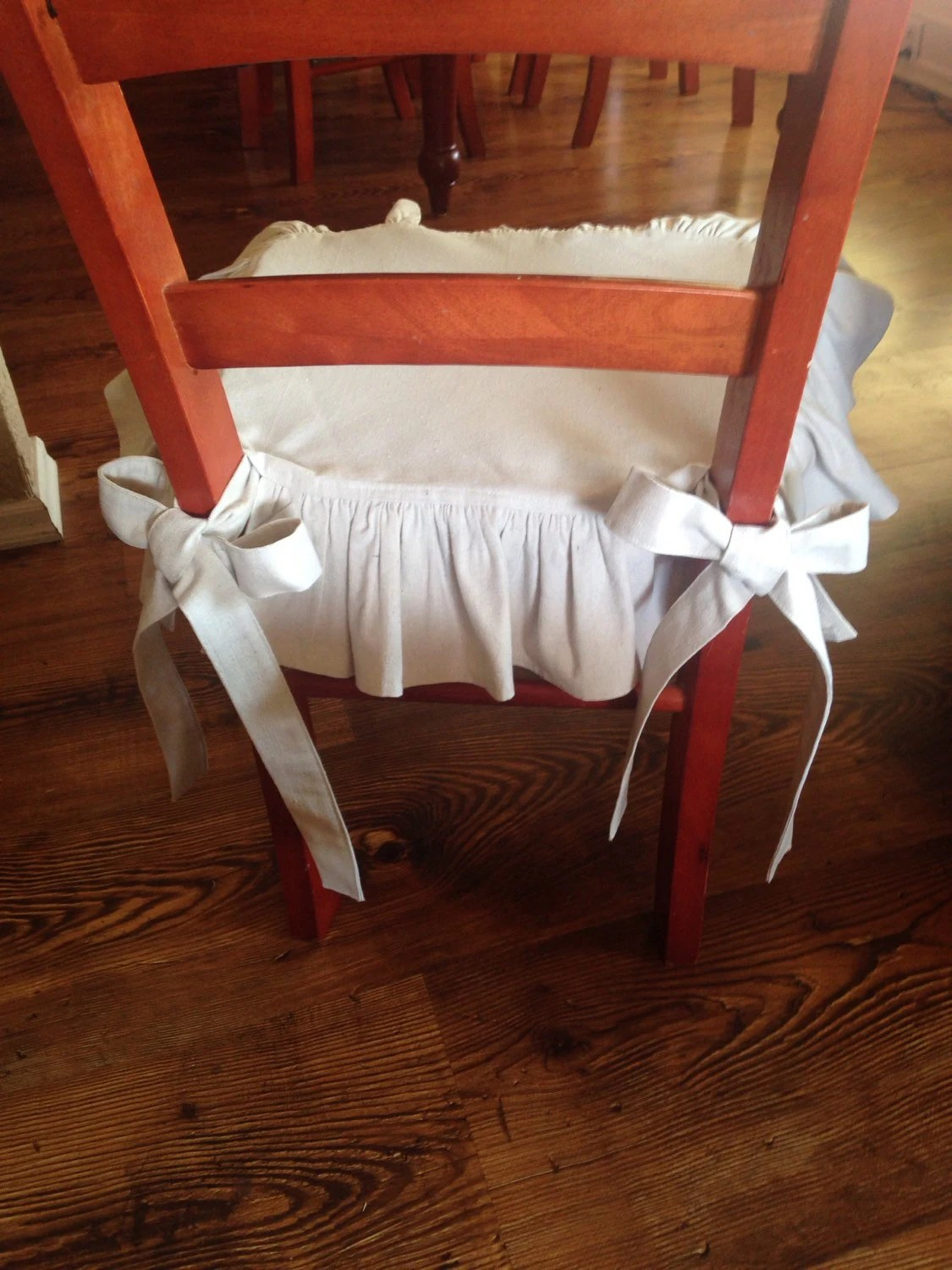 dining chair seat covers etsy are necessary wedding drop cloth cover with back ruffle and wide ties