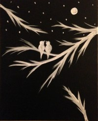 Black and white Acrylic painting canvas art Love by PreethiArt