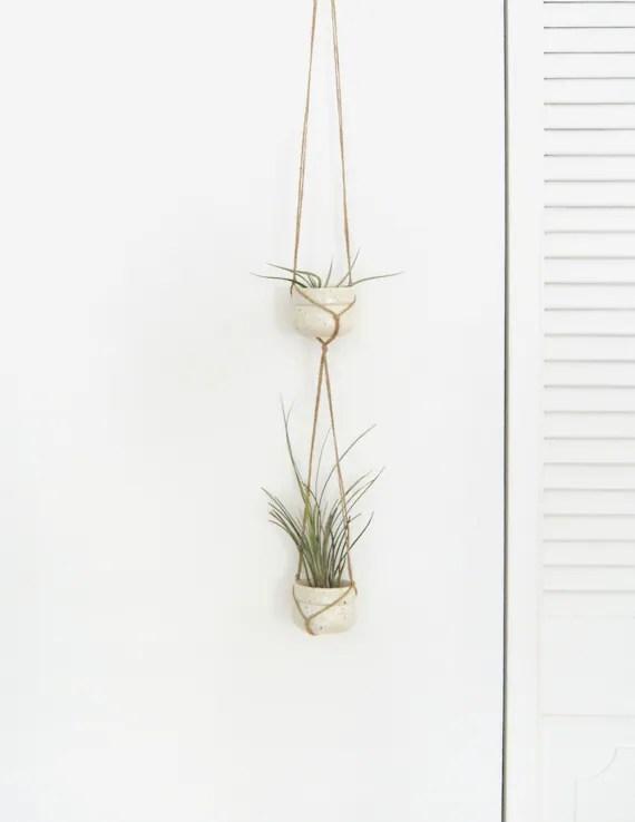 Vintage Ceramic Hanging Planters Macrame Planter Duo Pair