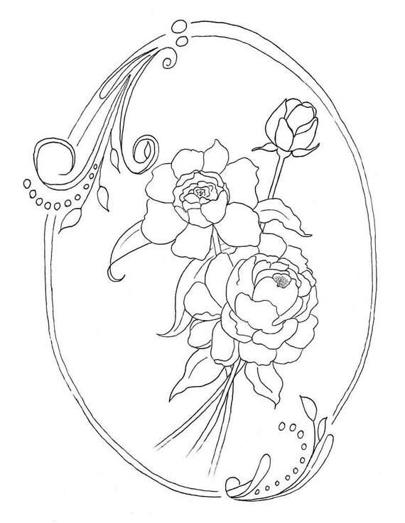 Peony Coloring Page Instant Download Peonies Flower