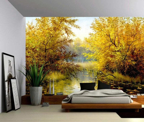 Tree River Bank Autumn Landscape Large Wall Mural