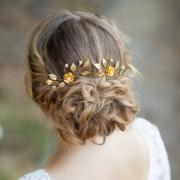 gold flowers wedding hair pins