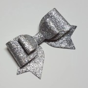 big silver hair bow.silver glitter