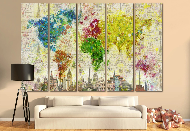 LARGE World Map Canvas Print Wall Art / 13 Or 5 Panel Art