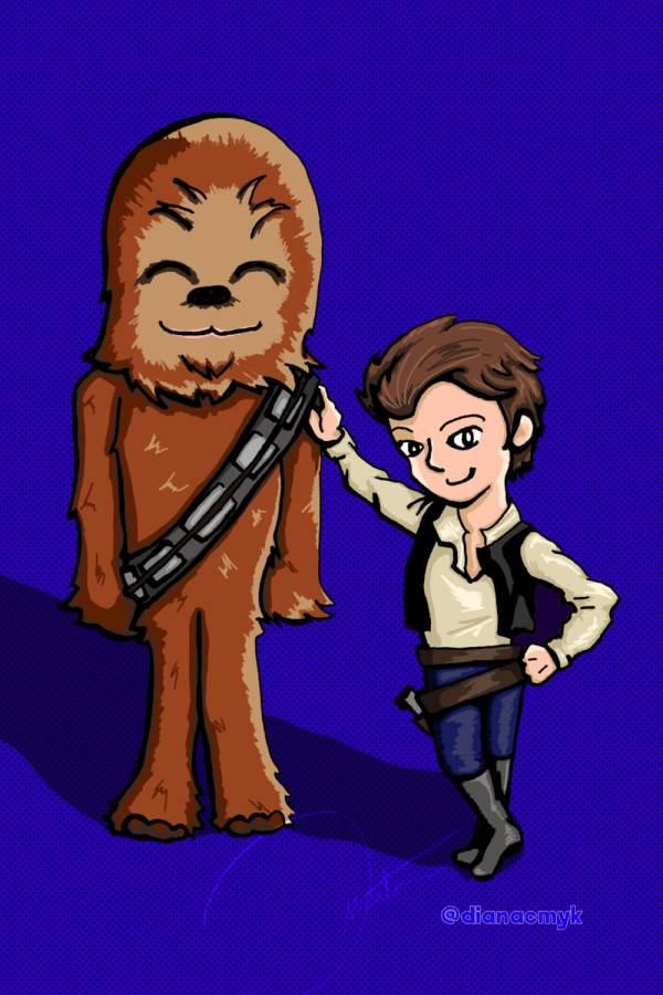 Star Wars Fan Art Han Solo Chewbacca Chibi Kawaii Cute Digital