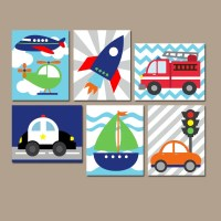 TRANSPORTATION Wall Art CANVAS or Prints Boy Nursery Artwork