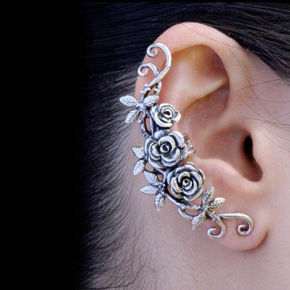 Flower Ear Cuff Floral Ear Cuff Rose Ear Cuff Silver Rose