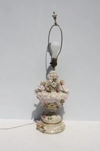 Vintage Capodimonte Made In Italy Italian Lamp Large Cherubs