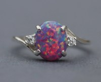 Rare Purple Fire Opal CZ Gemstone RingLab Created Purple Opal