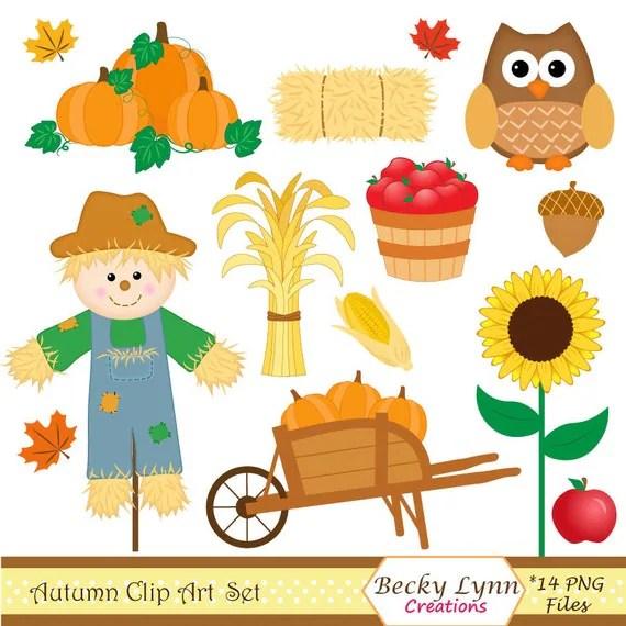 fall clip art set autumn