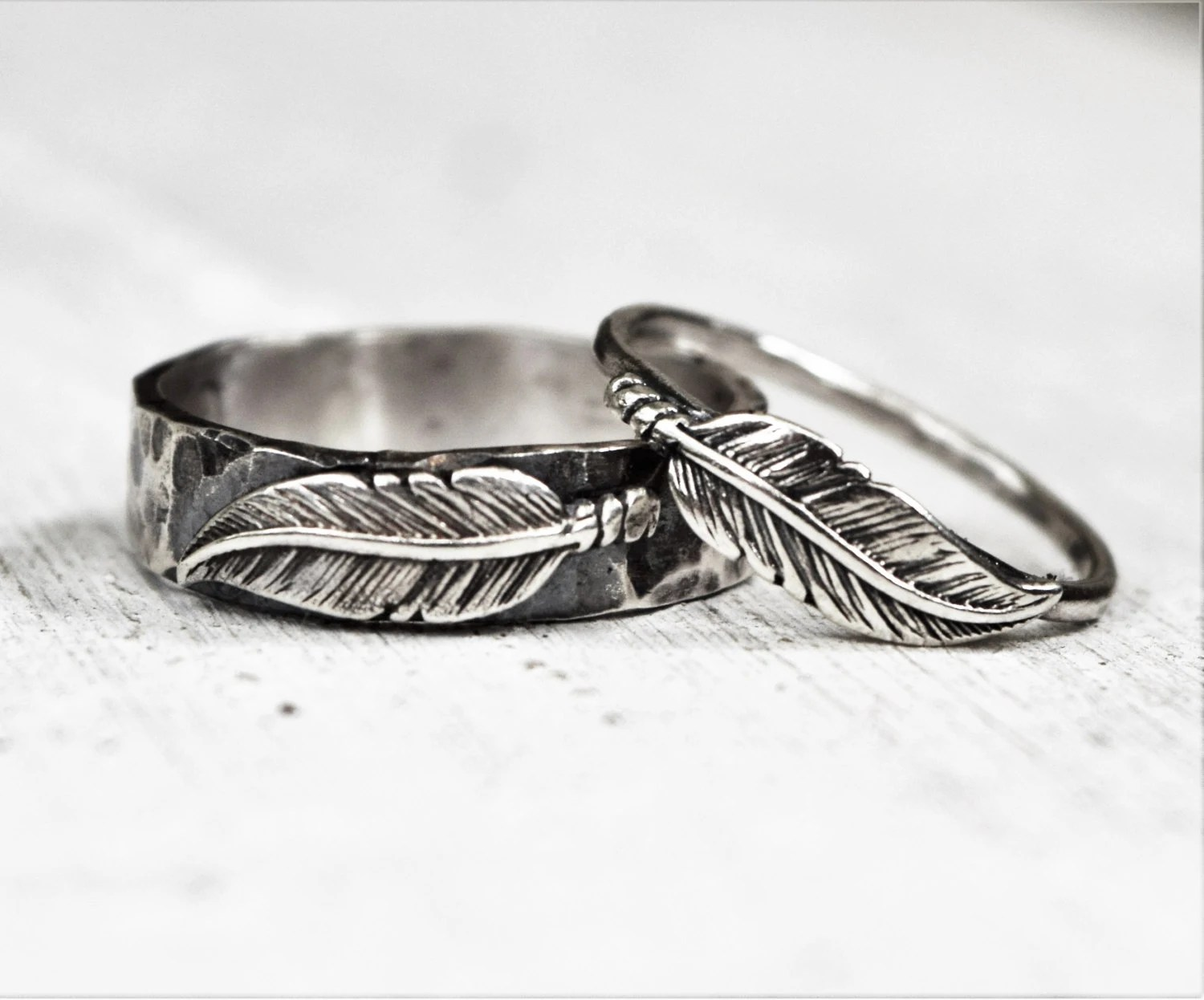 Hammered Sterling Silver Feather Rings Pair His Amp Hers