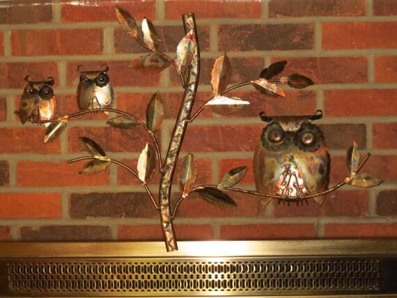 Vintage 1970s MID Century Modern Copper Metal Retro Hoot OWL