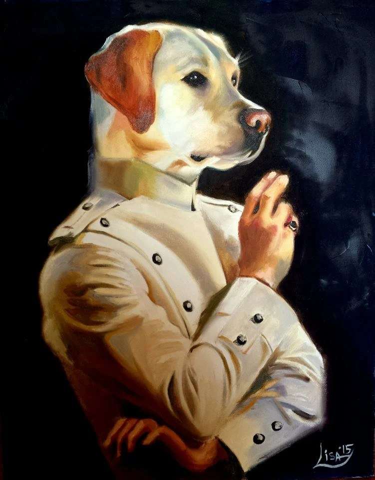 Original Oil Painting Dog In Uniform Pet Portrait Labrador