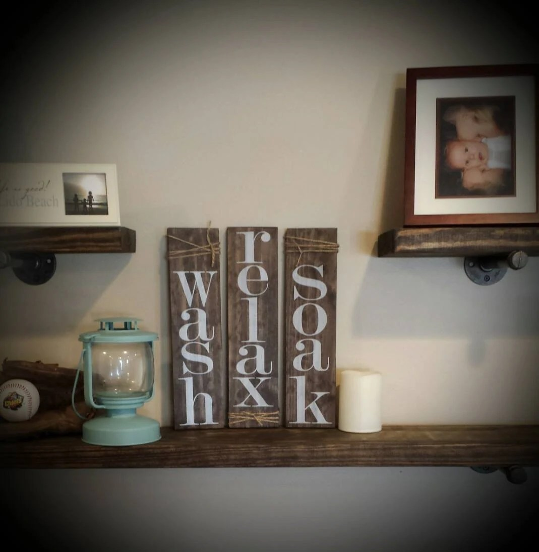 Wash Relax Soak Set of 3 rustic bathroom decor pallet