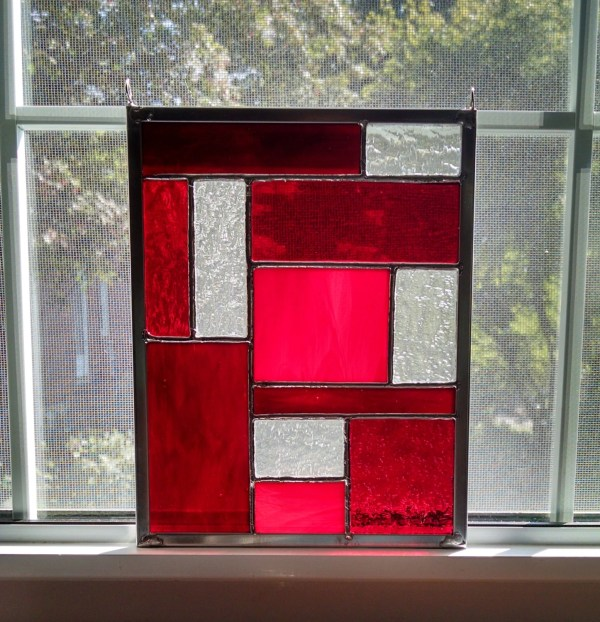 Stained Glass Panel Red Window Geometric