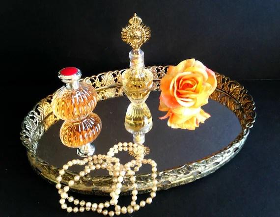 Vintage Antique Gold Mirrored Vanity Tray Shabby Chic Elegant