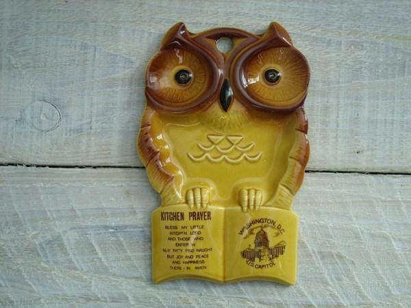 Vintage Ceramic Owl Spoon Rest 70s Kitchen Prayer Wall